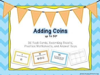 Adding Coins up to 50¢ Task Cards