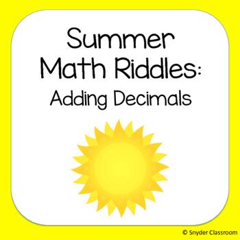 Summer Adding Decimals Math Riddles
