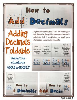 Adding Decimals Foldable