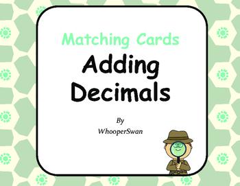 Adding Decimals Matching Cards