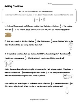 Adding Fractions with Like Denominators Word Problems Printable