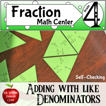 Adding Fractions with Like Denominators Math Center Activity