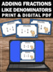 Adding Fractions with Like Denominators Games & Activities