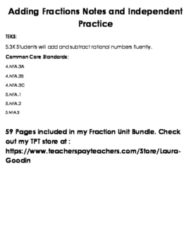 Adding Fractions Notes and Independent Practice Freebie