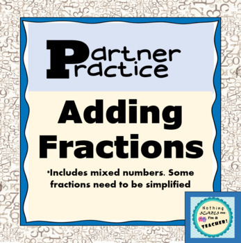 Adding Fractions Partner Practice Printable Worksheet
