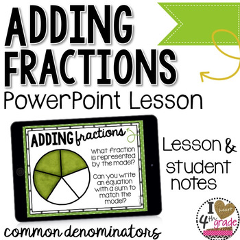 Adding Fractions PowerPoint Lesson by I HEART 4th grade