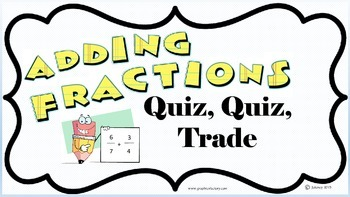 Kagan Adding Fractions Quiz Quiz Trade Cards Grade 5