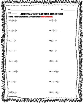 Adding Fractions Review Worksheet