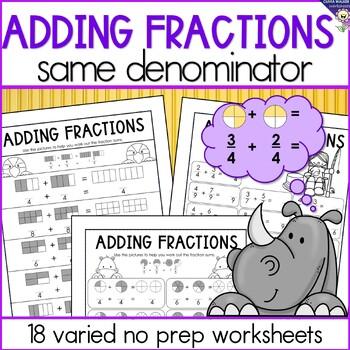 Adding Fractions Same Denominator - Fraction Addition - Wo