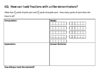 Adding Fractions Task