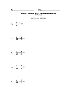 Adding Fractions with Common Denominator