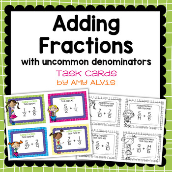 Fraction Task Cards - Adding Fractions with Uncommon Denom
