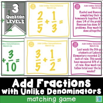 Adding Fractions with Unlike Denominators Match-Up Cards