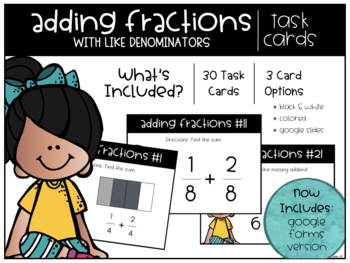 Adding Fractions (with like Denominators) Task Cards