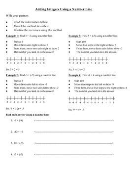 Adding Integers Activity