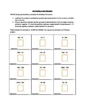 Adding Integers - Am I Positive or Negative?