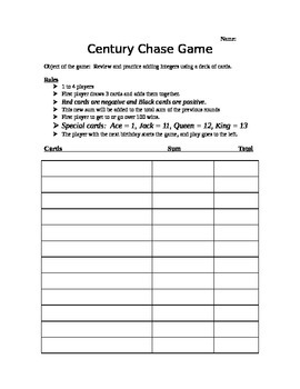 Adding Integers Century Chase Game