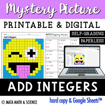 Adding Integers - Color + Solve Mystery Picture (Emoji)
