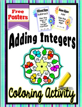 Adding Integers Coloring Activity + Free Integer Rules Posters