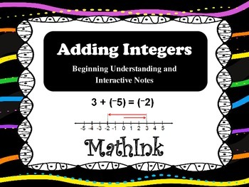 Adding Integers Interactive Notes and Conceptual Understanding