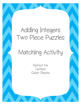 Adding Integers Matching