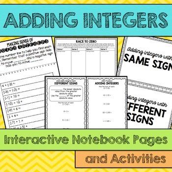 Adding Integers Interactive Notebook