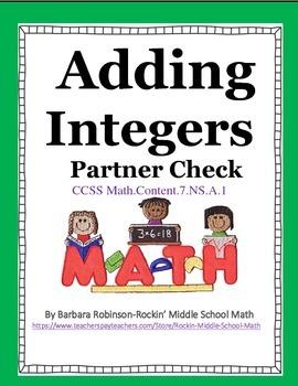 Adding Integers Partners Check - CCSS 7.NS.A.1