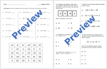 Adding Integers Practice and Problem Solving