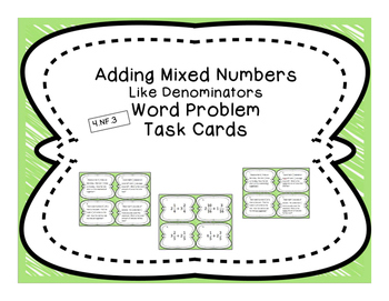 Adding Mixed Numbers with Like Denom. Differentiated Word