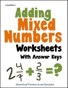 Adding Mixed Numbers Worksheets with Answer Keys