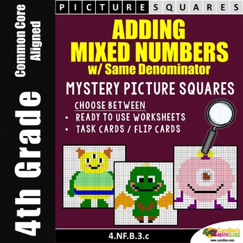 Adding Mixed Numbers with Like Denominators, Mystery Pictu
