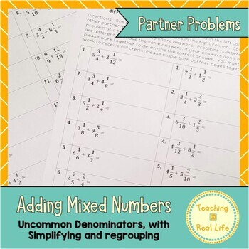 Adding Mixed Numbers with Regrouping Partner Problems