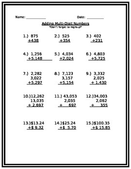 Adding Multi-Digit Numbers Quiz
