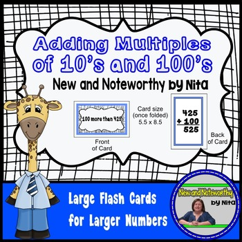 Adding Multiples of 10's and 100's --- Large Flashcards fo
