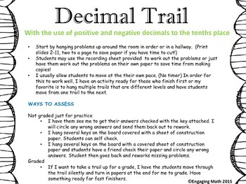 Adding Positive and Negative Decimals Trail A (uses number