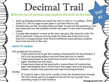 Adding Positive and Negative Decimals (Trail Bundle - 3 le