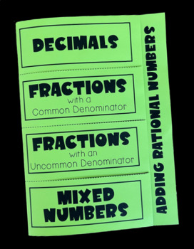 Adding Rational Numbers (Foldable)