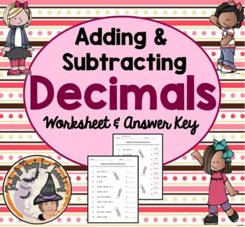 Adding & Subtracting Decimals Practice Homework with Answe