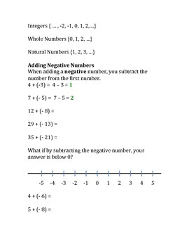 Adding, Subtracting, Dividing, Multiplying Negative Numbers