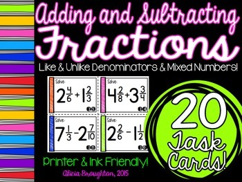 Adding & Subtracting Fractions Task Cards