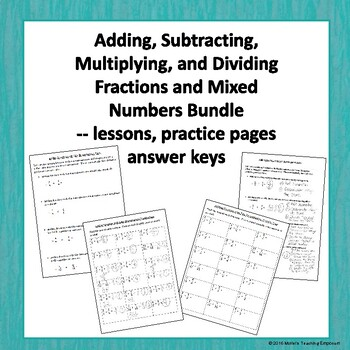 Adding Subtracting Multiplying and Dividing Fractions and