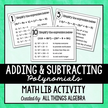 Adding and Subtracting Polynomials Math Lib