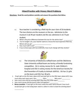 Adding, Subtracting and Multiplying Money Word Problems