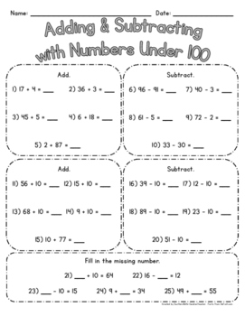 Adding & Subtracting w/ Numbers Under 100 - Use for PRACTI