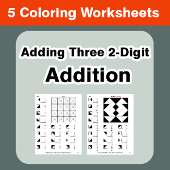 Adding Three 2-Digit Addition - Coloring Worksheets