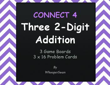 Adding Three 2-Digit Addition - Connect 4 Game