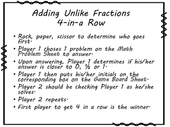 Adding Unlike Fractions 4-in-a-Row