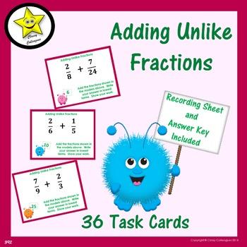 Adding Unlike Fractions Task Cards
