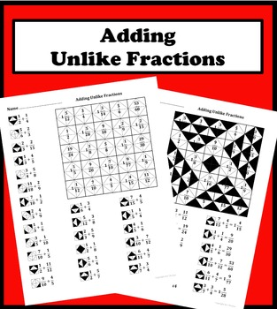 Adding Unlike Fractions Color Worksheet