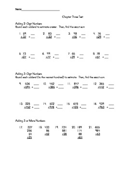 Adding Whole Numbers TEST (Envision)
